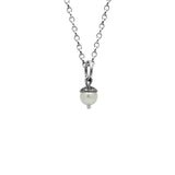 Sterling silver and gemstone acorn charm pendant - small - white pearl