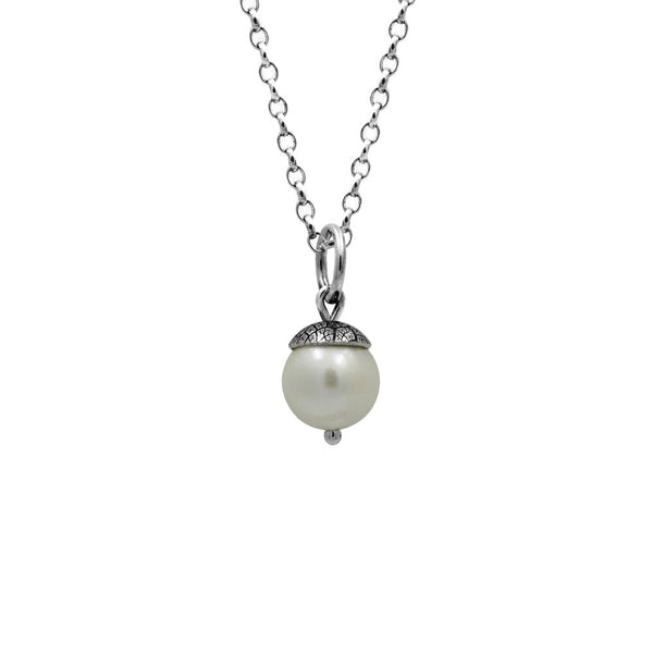 Sterling silver and white freshwater pearl acorn charm pendant.  Can also be worn with silver leaf pendants and silver rose pendants. Handmade using recycled silver in Salisbury, Wilthshire.
