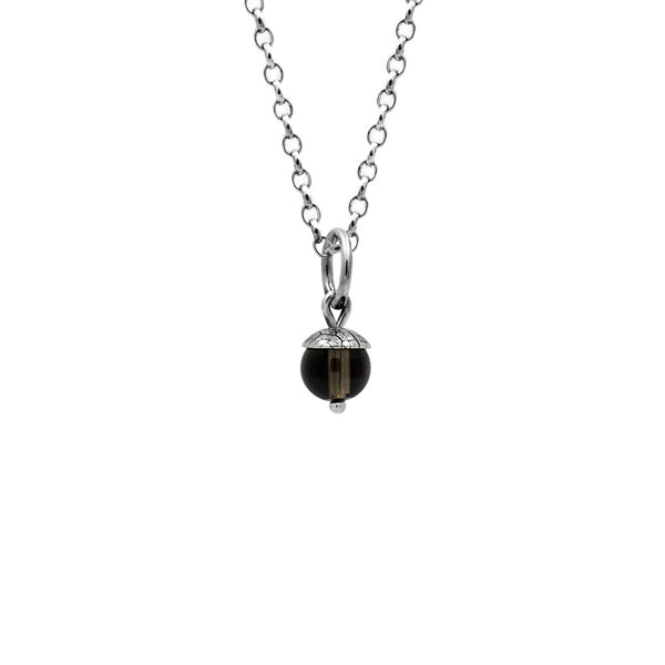 Sterling silver and gemstone acorn charm pendant - small - smoky quartz