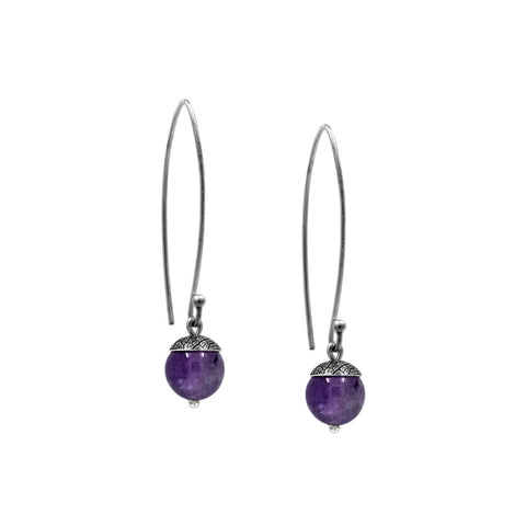sterling silver acorn earrings with purple amethyst. Handmade in Salisbury, Wiltshire.