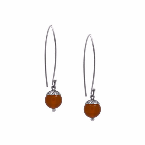 sterling silver acorn earrings with red carnelian. Handmade in Salisbury, Wiltshire.