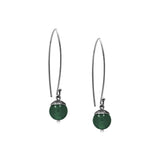 sterling silver acorn earrings with green agate. Handmade in Salisbury, Wiltshire.
