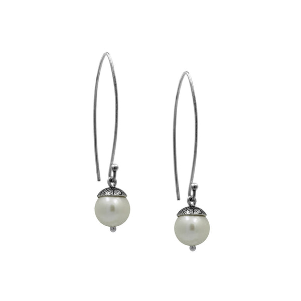 sterling silver acorn earrings with white pearl. Handmade in Salisbury, Wiltshire.