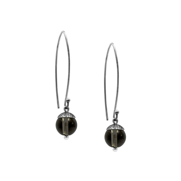 sterling silver acorn earrings with brown smoky quartz. Handmade in Salisbury, Wiltshire.