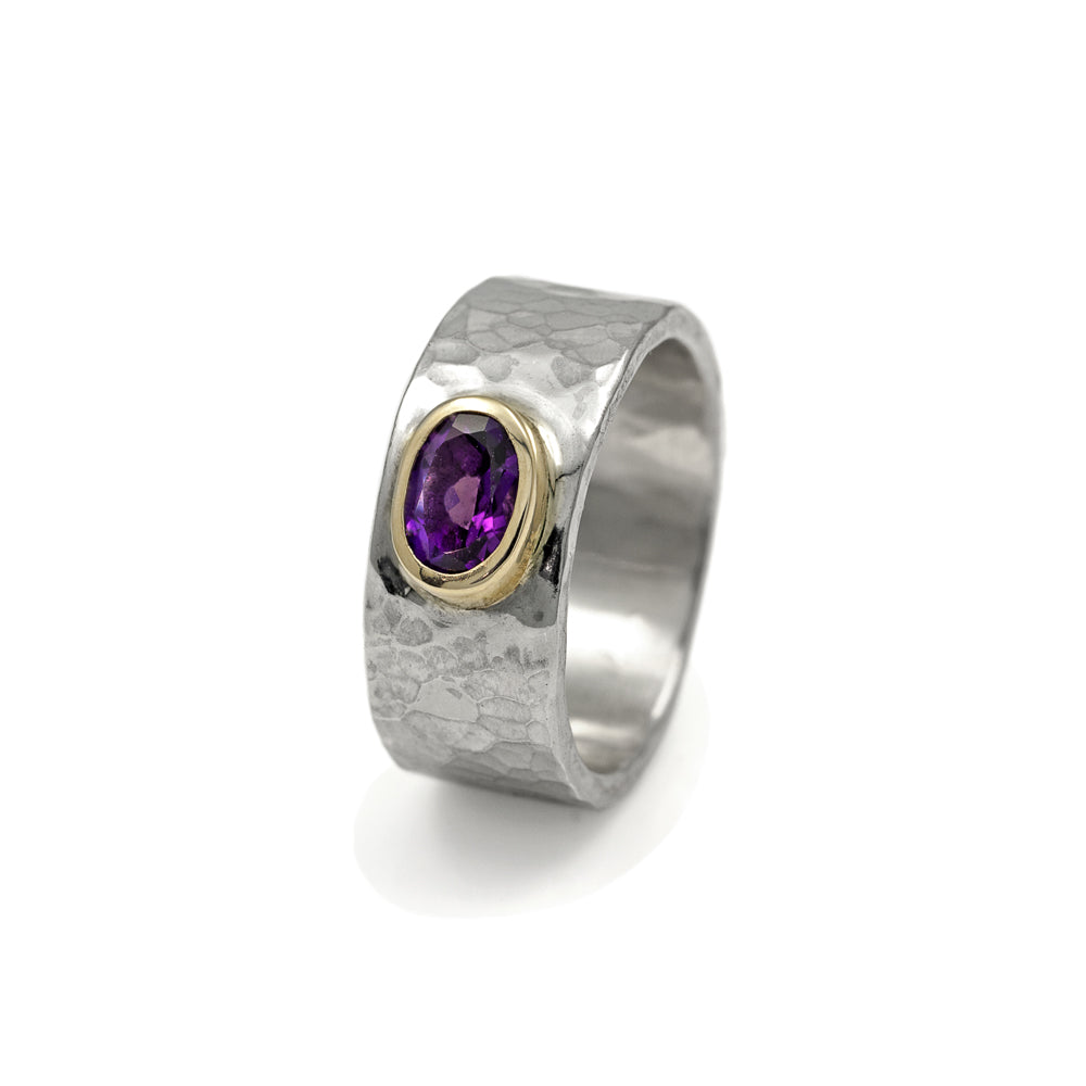 Silver and gold amethyst ring