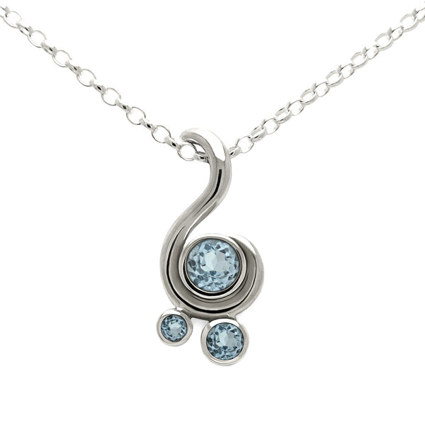 Entwine three stone gemstone pendant in sterling silver - aquamarine