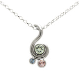 Entwine three stone gemstone pendant in sterling silver - green beryl, morgnaite and aquamarine