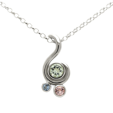 Entwine three stone beryl pendant in sterling silver - green beryl, morganite and aquamarine
