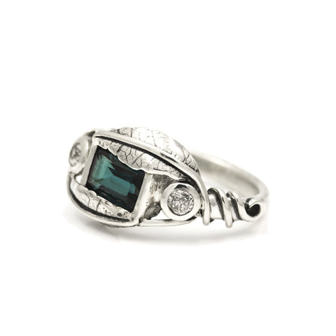 Leaf and tendril gemstone ring