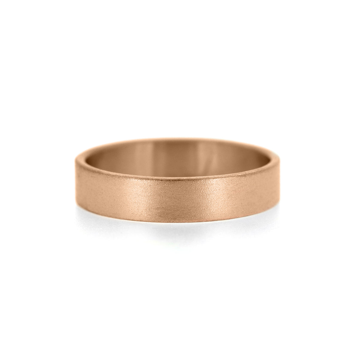 Flat wedding band recycled rose gold brushed