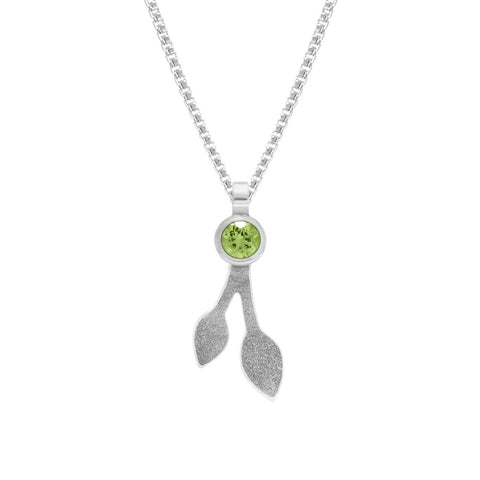 Spring pendant in sterling silver and peridot - large