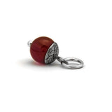 Sterling silver and gemstone acorn charm pendant - red carnelian close up