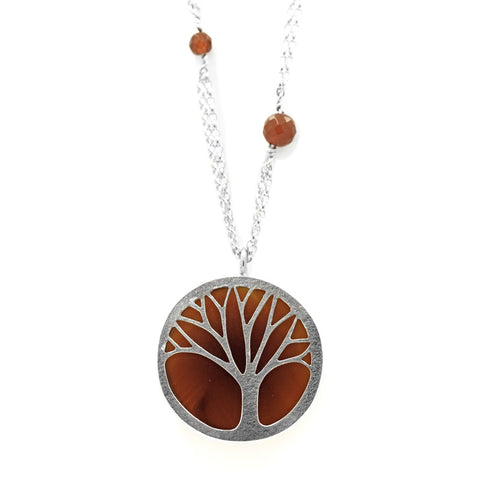 Silver and carnelian tree necklace