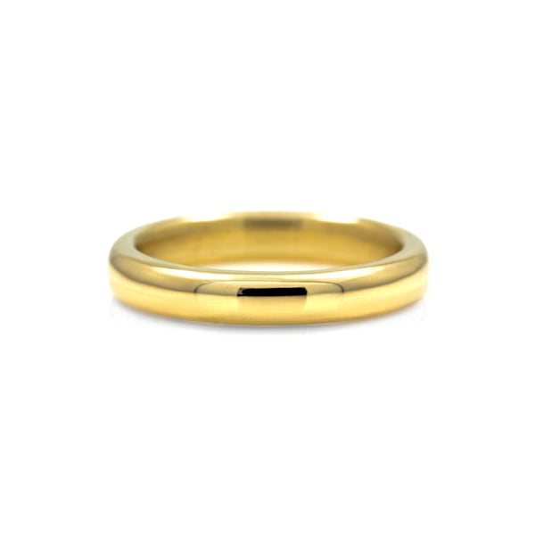 Court shaped wedding band recycled yellow gold