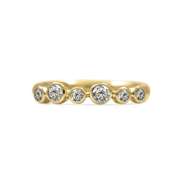 Rubover set diamond wedding ring yellow gold