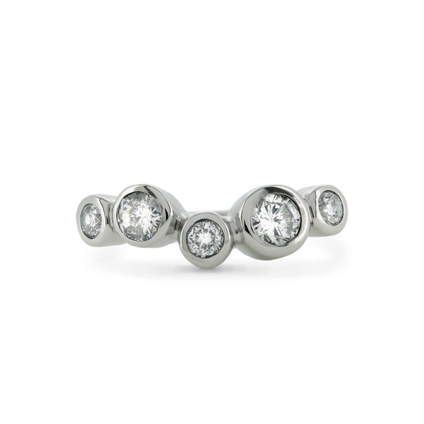 Diamond wedding ring -  rub-over set