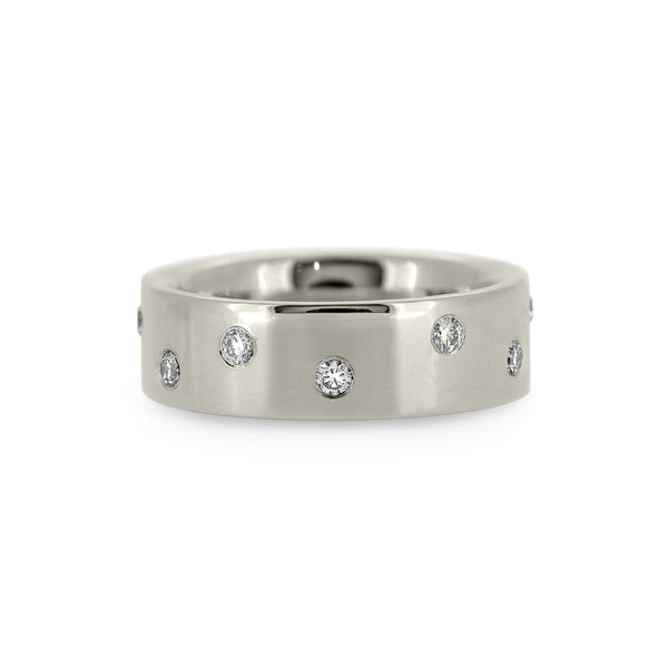 Flat wedding band recycled white gold with flush set diamonds