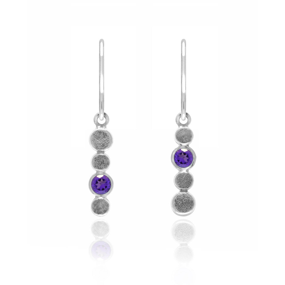 Halo drop earrings in textured sterling silver and gemstone - amethyst