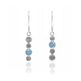 Halo drop earrings in textured sterling silver and gemstone - blue topaz