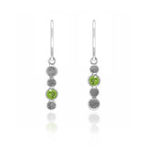 Halo drop earrings in textured sterling silver and gemstone - peridot