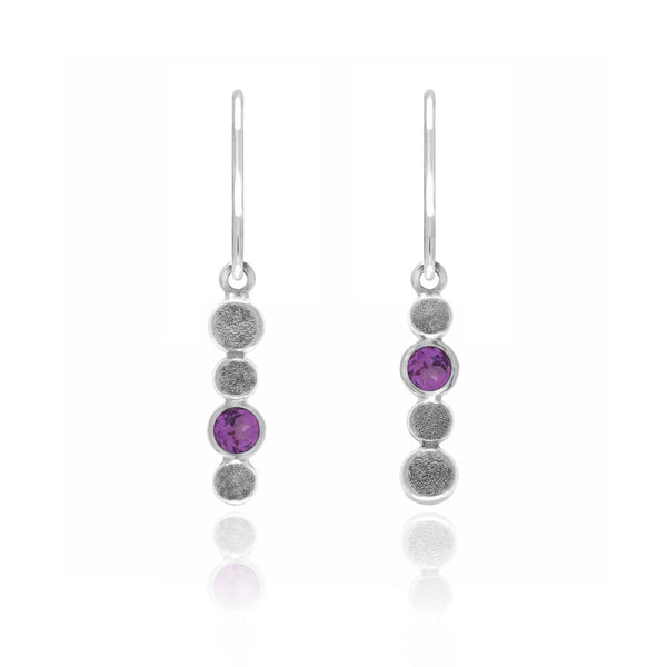 Halo drop earrings in textured sterling silver and gemstone - rhosolite garnet