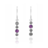 Halo drop earrings in textured sterling silver and gemstone - rhodolite garnet