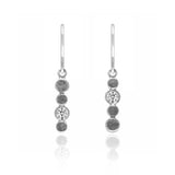 Halo drop earrings in textured sterling silver and gemstone - white topaz