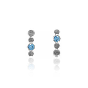 Halo stud earrings in textured sterling silver and gemstone - blue topaz