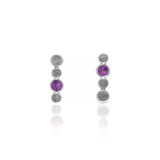 Halo stud earrings in textured sterling silver and gemstone - rhodolite garnet