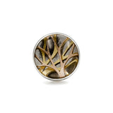 Sterling silver and gold enchanted forest tree ring with clear quartz