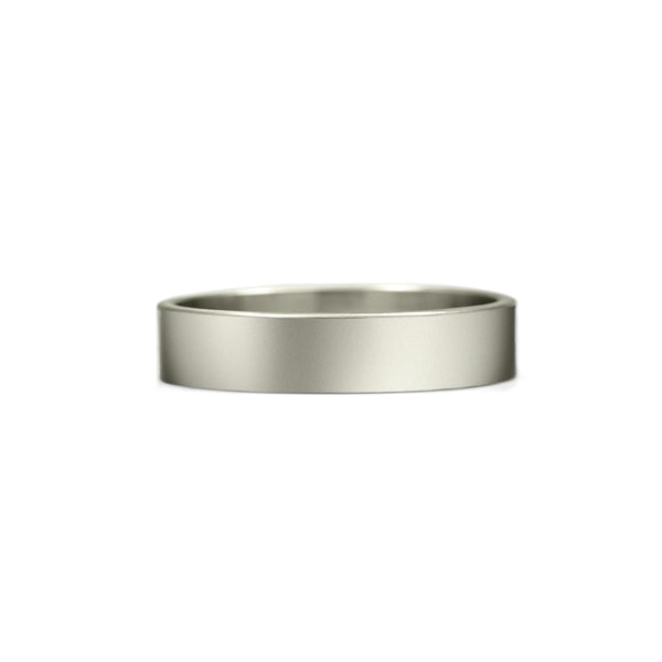 Flat wedding band recycled white gold