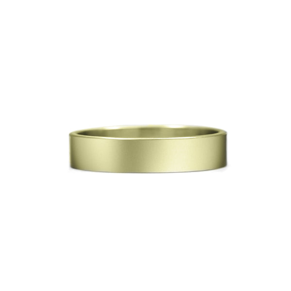 Flat wedding band recycled yellow gold