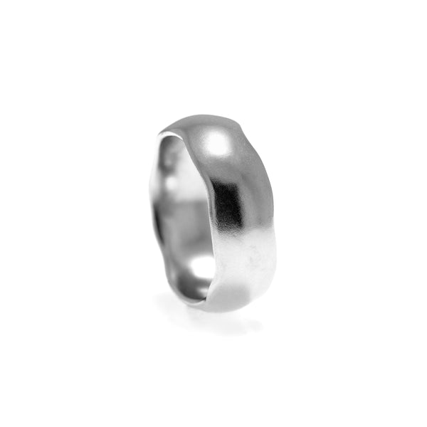 Fluid wedding ring palladium carved wedding band