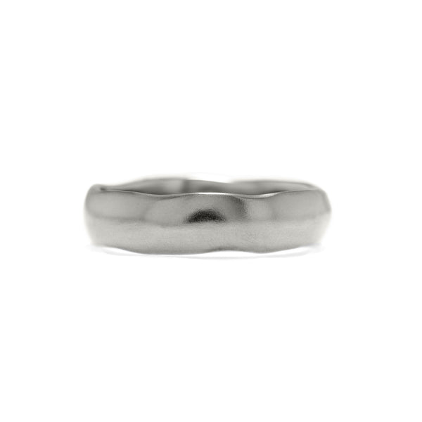 Fluid wedding ring recycled white gold carved wedding band