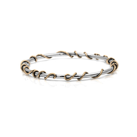 Tendril bangle in sterling silver and 9ct gold
