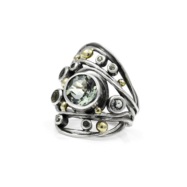 Sterling silver, green quartz and sapphire ring - READY TO WEAR