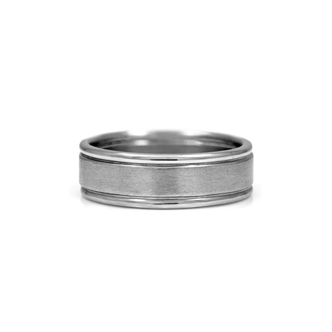 Grooved wedding ring palladium grooves wedding band