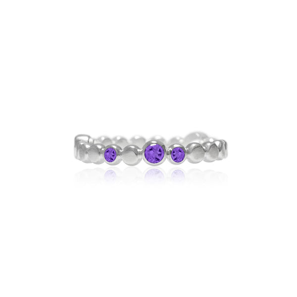 Sterling silver halo band of textured circles - amethyst