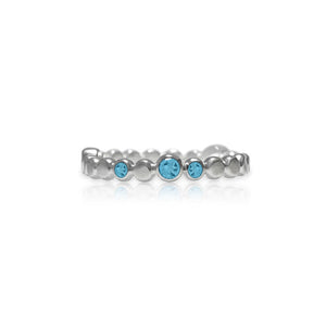 Sterling silver halo band - blue topaz