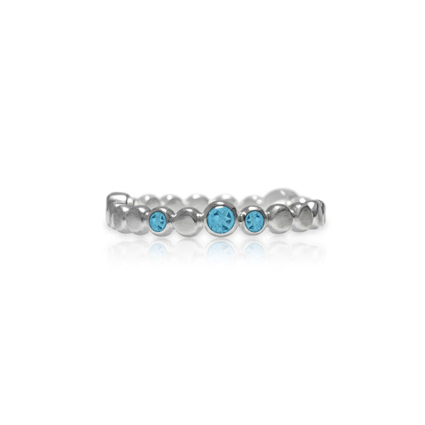 Sterling silver halo band of textured circles - blue topaz