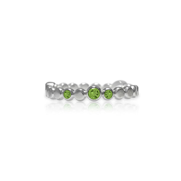 Sterling silver halo band of textured circles - peridot
