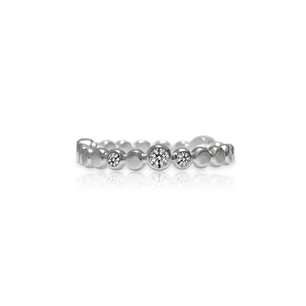 Sterling silver halo band of textured circles - white topaz