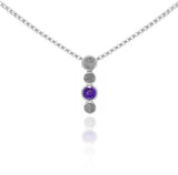 Halo drop pendant in sterling silver and gemstone