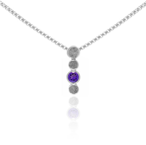 Halo drop drop pendant in textured sterling silver and gemstone - amethyst