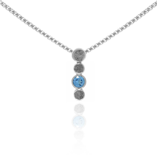 Halo drop drop pendant in textured sterling silver and gemstone - blue topaz