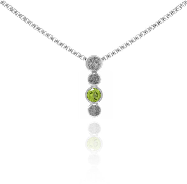 Halo drop drop pendant in textured sterling silver and gemstone - peridot