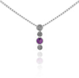 Halo drop drop pendant in textured sterling silver and gemstone - rhodolite garnet