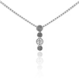 Halo drop drop pendant in textured sterling silver and gemstone - white topaz