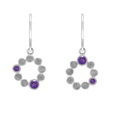 Sterling silver halo drop earrings - amethyst