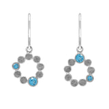 Sterling silver halo drop earrings - blue topaz